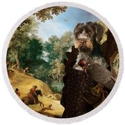 Korthals Pointing Griffon Art Canvas Print - The Hunters And Lady Falconer Round Beach Towel