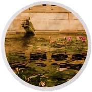 Round Beach Towel featuring the photograph Kowloon - Lily Pool by Mark Forte