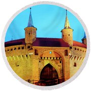 Round Beach Towel featuring the photograph Krakow Barbican by Fabrizio Troiani
