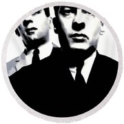 Kray Twins Round Beach Towel by Luis Ludzska