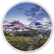 Round Beach Towel featuring the photograph Crimson Peaks by Dmytro Korol