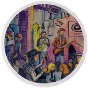 Round Beach Towel featuring the painting Kris Lager Band At The Goat by David Sockrider