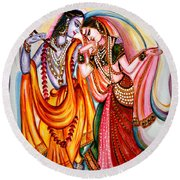 Krishna And Radha Round Beach Towel