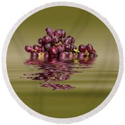 Krissy Gold Grapes To Wine Round Beach Towel by David French