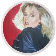 Round Beach Towel featuring the painting Kristi Sommers by Bryan Bustard