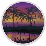 Kristine's Sunset Round Beach Towel