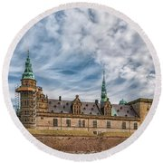 Round Beach Towel featuring the photograph Kronborg Castle In Denmark by Antony McAulay