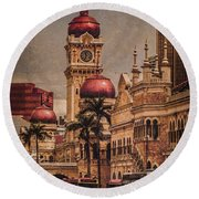 Round Beach Towel featuring the photograph Kuala Lumpur, Malaysia - Red Onion Domes by Mark Forte