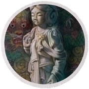 Kuan Yin Dragon Round Beach Towel by Sue Halstenberg