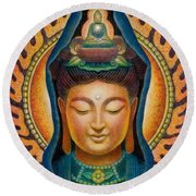 Kuan Yin Flame Round Beach Towel by Sue Halstenberg