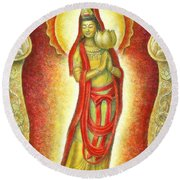 Kuan Yin Lotus Round Beach Towel
