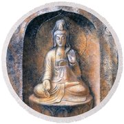 Round Beach Towel featuring the painting Kuan Yin Meditating by Sue Halstenberg