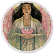 Kuan Yin Pink Lotus Heart Round Beach Towel by Sue Halstenberg