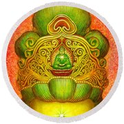 Kuan Yin's Buddha Crown Round Beach Towel by Sue Halstenberg
