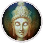 Kuan Yin's Light Round Beach Towel by Sue Halstenberg
