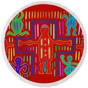 Round Beach Towel featuring the digital art Kuna Indian Mola Crucifix by Vagabond Folk Art - Virginia Vivier