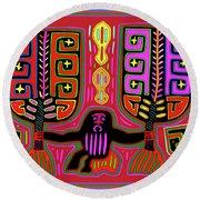 Round Beach Towel featuring the digital art Kuna Indian Mola Man With Fans by Vagabond Folk Art - Virginia Vivier