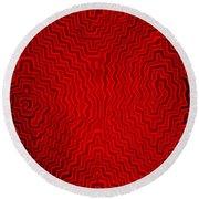 Round Beach Towel featuring the digital art Kuna Indian Sun Heat Rays by Vagabond Folk Art - Virginia Vivier