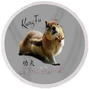 Kung Fu Chipmunk Round Beach Towel