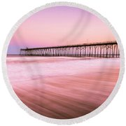 Round Beach Towel featuring the photograph Kure Beach Fishing Pier At Sunset by Ranjay Mitra