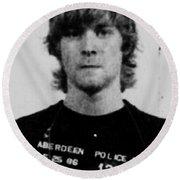 Kurt Cobain Mug Shot Vertical Black And Gray Grey Round Beach Towel