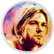 Round Beach Towel featuring the mixed media Kurt Cobain by Svelby Art