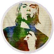 Kurt Cobain Watercolor Round Beach Towel