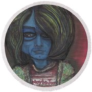 Round Beach Towel featuring the painting Kurt Cobalien by Similar Alien