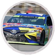 Kyle Busch Coming Out Of Turn 1 Round Beach Towel