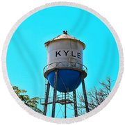 Kyle Texas Water Tower Round Beach Towel by Ray Shrewsberry