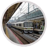 Kyoto To Osaka Train Station, Japan Round Beach Towel