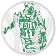 Kyrie Irving Boston Celtics Pixel Art 6 Round Beach Towel