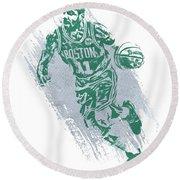 Kyrie Irving Boston Celtics Water Color Art 2 Round Beach Towel