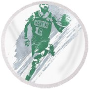 Kyrie Irving Boston Celtics Water Color Art 4 Round Beach Towel