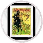 L Hippodrome 1905 Parisian Art Nouveau Poster II Manuel Orazi 1905 Round Beach Towel