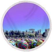 Los Angeles Glows In The Spheres Of Macarthur Park Round Beach Towel