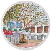 La Bella Flowers, Riverside Dr. And Screenland, Burbank, California Round Beach Towel by Carlos G Groppa