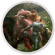 La Belle Dame Sans Merci Round Beach Towel by Sir Frank Dicksee