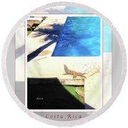la Casita Playa Hermosa Puntarenas Costa Rica - Iguanas Poolside Greeting Card Poster Round Beach Towel