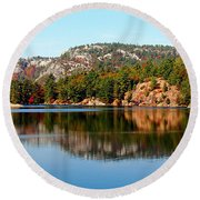Round Beach Towel featuring the photograph La Cloche Mountain Range by Debbie Oppermann