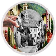La Comacina Ristorante-colonno, Ital Round Beach Towel by Jennie Breeze