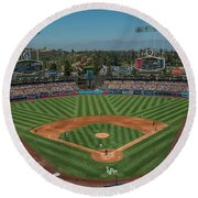 Round Beach Towel featuring the photograph La Dodgers Los Angeles California Baseball by David Haskett