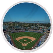 Round Beach Towel featuring the photograph La Dodgers Stadium Baseball 2087 by David Haskett