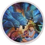 la flautista III Round Beach Towel by Angel Ortiz
