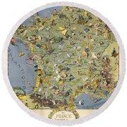 La France Touristique Et Gastronomique - Pictorial Illustrated Map Of France -cartography Round Beach Towel