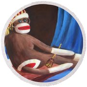 Round Beach Towel featuring the painting La Grande Sock Monkey by Randol Burns