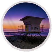 La Jolla Beach Sunset Round Beach Towel
