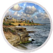 La Jolla Coastline Round Beach Towel by Eddie Yerkish