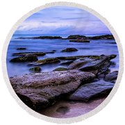 La Jolla Cove Twilight Round Beach Towel