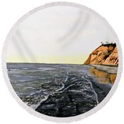 Round Beach Towel featuring the painting La Jolla Shoreline by Kevin Daly